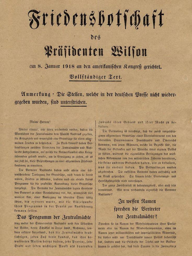 Exponat: Flugblatt: Friedensbotschaft von US-Präsident Wilson, 1918