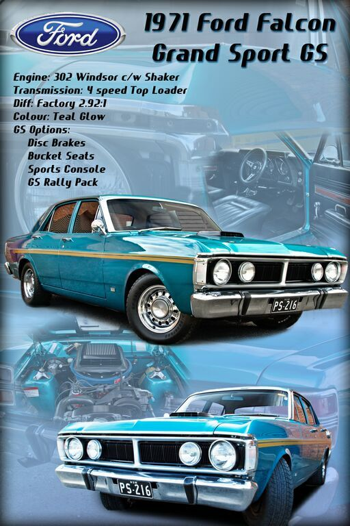 1971 Ford Falcon XY GS (Limited Edition Model) Sedan. (Australian Poster).  v@e.