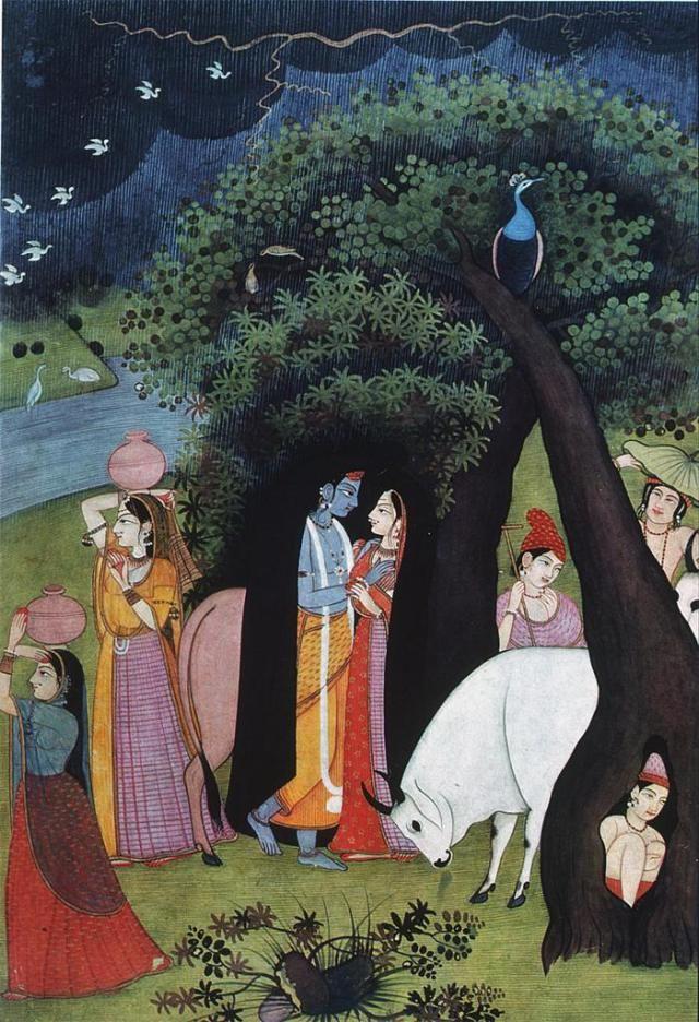 Krishna and Radha sheltering from the rain.