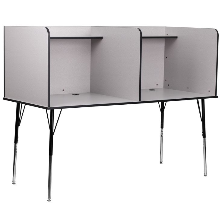 Flash Furniture Double Wide Study Carrel with Adjustable Legs and Top Shelf in Nebula Grey Finish [MT-M6222-GRY-DBL-GG]