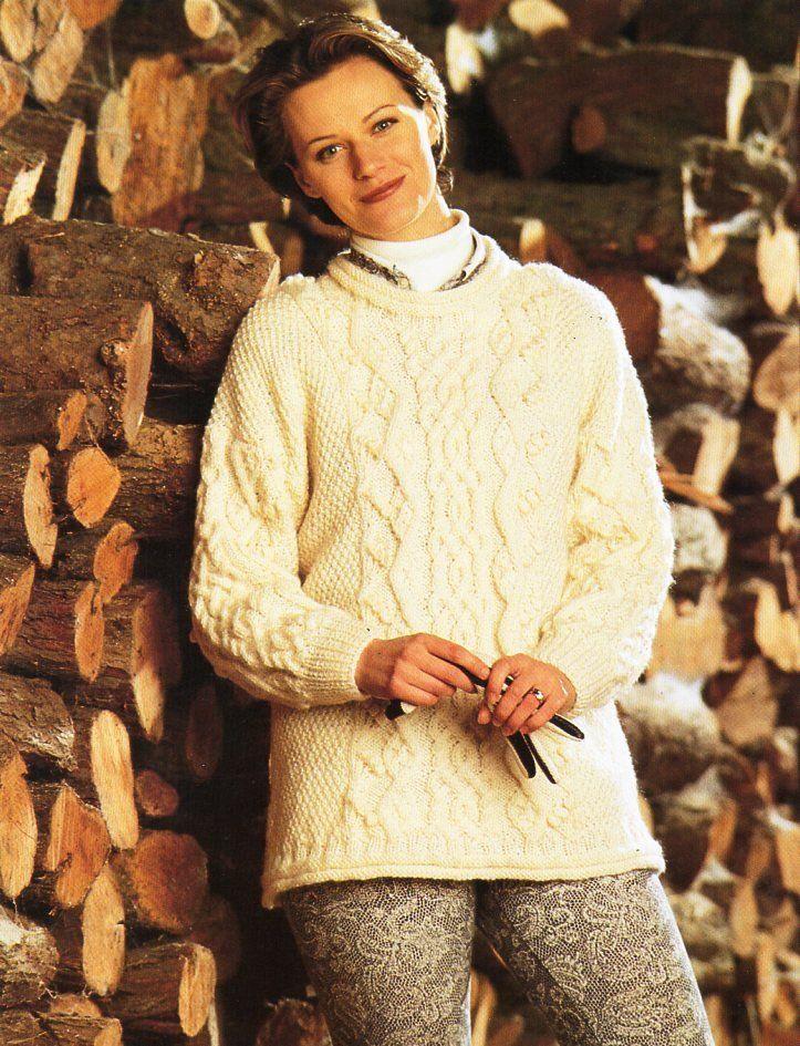 cc02454a0 womens aran sweater knitting pattern pdf ladies cable jumper aran tunic  32-42