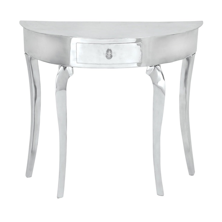 silver hall table. Console Table In Silver With A Rounded Front And Cabriole Legs. Product: Construction Material: Acrylic MDF Color: Features: One Hall