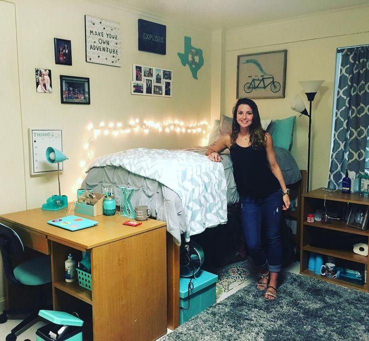 Tiffany blue Baylor University dorm room.