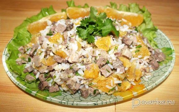 Рисовый салат с языком и апельсинами - рецепт