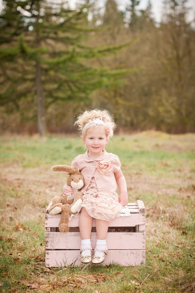 I love the clothing choices, soft colors, and props. Not all Easter photos have to be bright pastels! The mere presence of a bunny makes this a perfect Easter session.