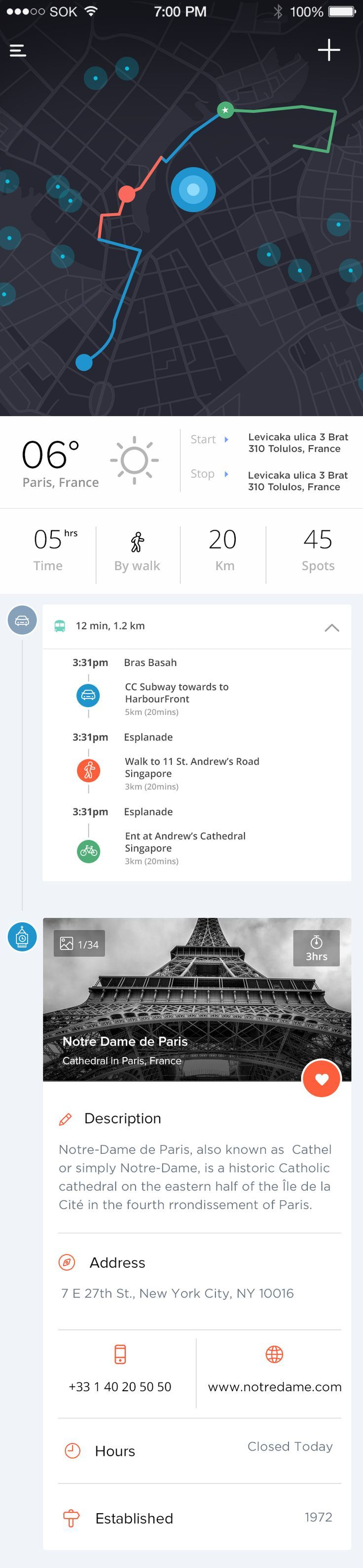 Simple, yet elegant UI for a navigation system. i like the minimal approach, because too much visual clutter makes it difficult to navigate.