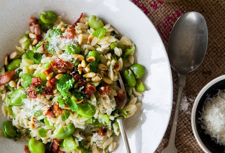Broad Bean and Mint Risoni with Crispy Bacon - Nadia Lim