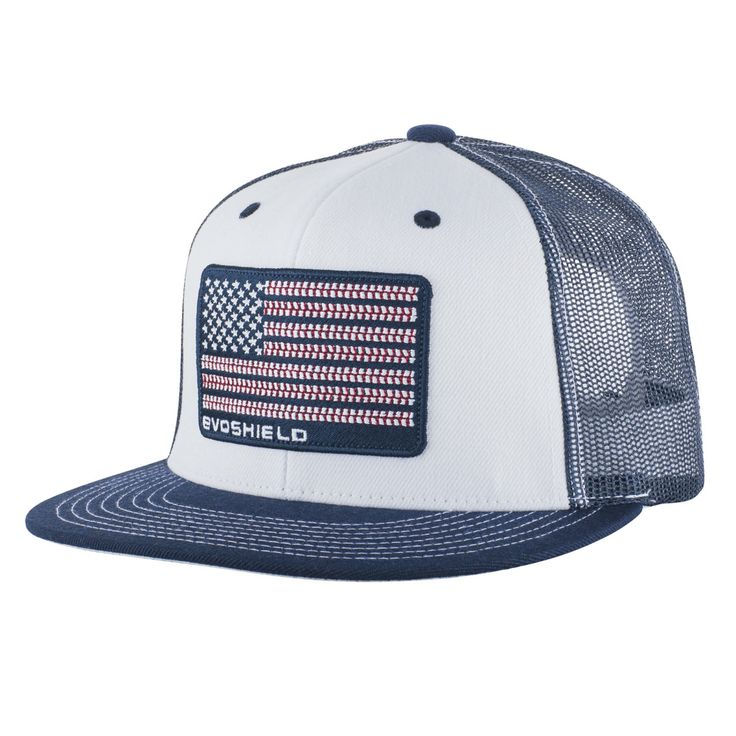 EvoShield introduces the Flag Patch Flatbill Snapback, featuring an embroidered flag design with baseball lace stripes.