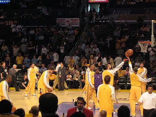 Lakers Photo of the Day: 2008 NBA Finals Game 4 Celtics vs. Lakers - Pregame Shootaround - http://weheartlakers.com/lakers-photos/lakers-photo-of-the-day-2008-nba-finals-game-4-celtics-vs-lakers-pregame-shootaround