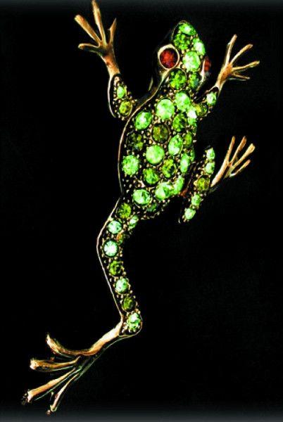 Frog brooch, Swarovski, green