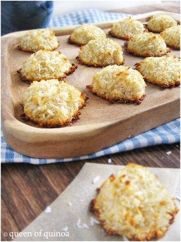 Quinoa Coconut Macaroons. - 6 tablespoons egg whites (from about 3 large eggs)  1/4 cup honey (raw is preferable; agave or maple syrup may work)  1 1/2 cups unsweetened shredded coconut  1 cup cooked quinoa  Pinch of salt