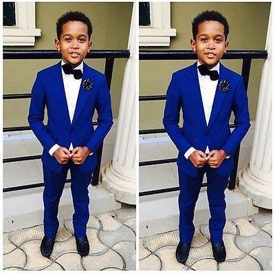 b5e11aaed Royal Blue Kid's Wedding Groom Tuxedos Flower Boys Children Party Suits  Bespoke
