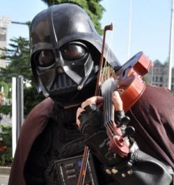 Darth Fiddler, Victoria's famous busker. See him and more at the Victoria Busker's Festival!