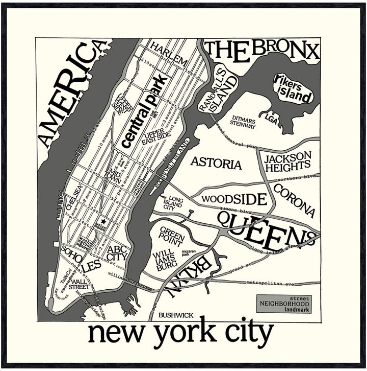 McGaw Graphics New York Map by Urban Cricket (Framed)