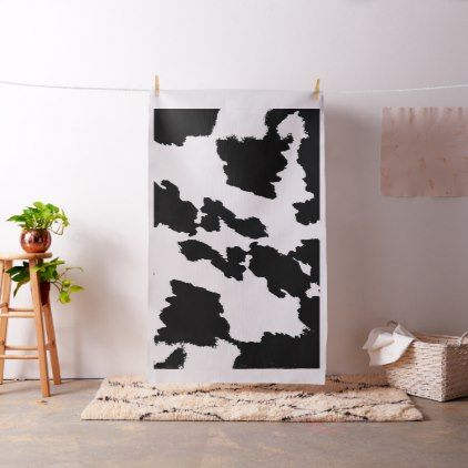 Black and White Cow Print Fabric - black and white gifts unique special b&w style