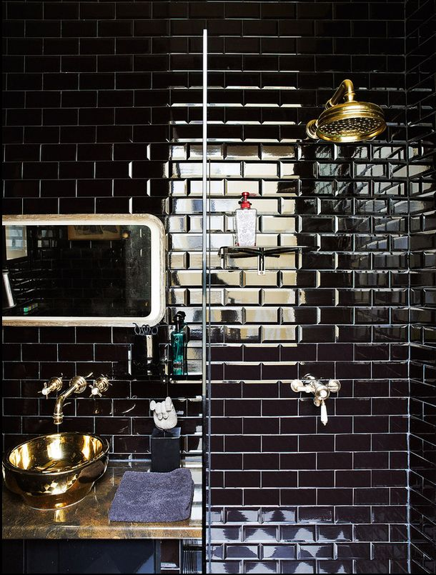 Black subway tiles  Gold/Brass fittings #abigail ahern