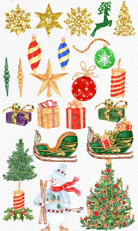 Watercolor Christmas Clipart Christmas Clipart Etsy In 2020 Christmas Scrapbook Layouts Christmas Watercolor Christmas Clipart
