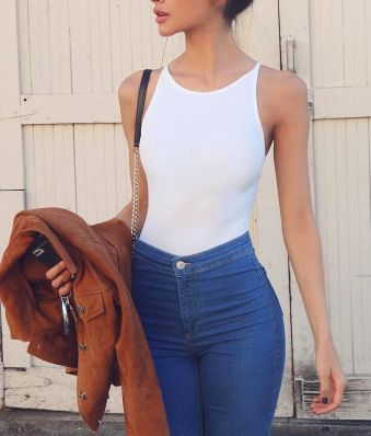 White Body Suit Tank With High Waisted Blue Jeans, Brown Leather Jacket. Cute Simple Love It!