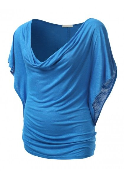 Short Sleeve Draping Neck Blouse - New Arrival
