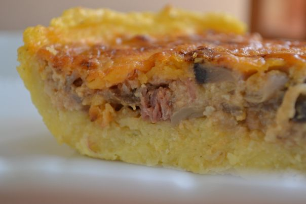 "Braai tart"" – Polenta, Mushroom and Bacon tart"