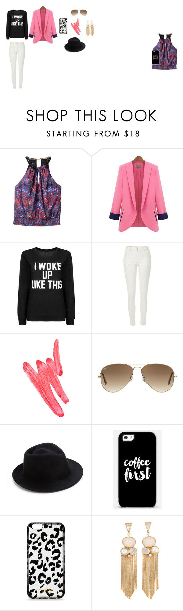 """pink i woke up"" by nattavr on Polyvore featuring moda, Bebe, River Island, Ilia, Ray-Ban, Eugenia Kim, Casetify y Victoria's Secret"