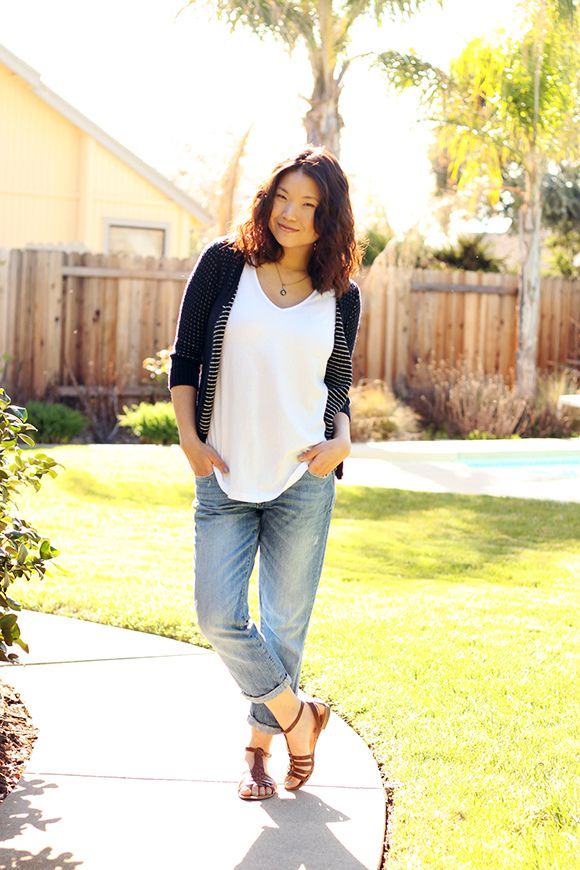 T-Shirt and Boyfriend Jeans from Day to Night at Clothed Much Modest Fashion Blog