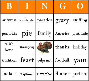 Thanksgiving bingo card sample