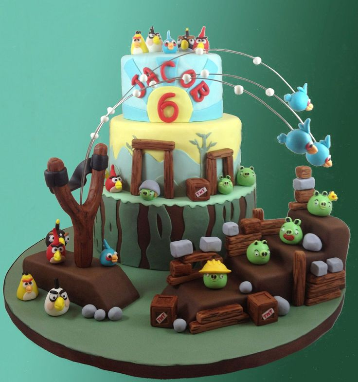 Angry Birds Birthday Cake - My Grandson wanted an Angry Birds cake for his his birthday. Thanks to all the awesone cake ideas on CC I was able to make this one. Figures are all fondant and gumpaste, with modeling chocolate slingshot covered in fondant. Structures are fondant covered RCT.