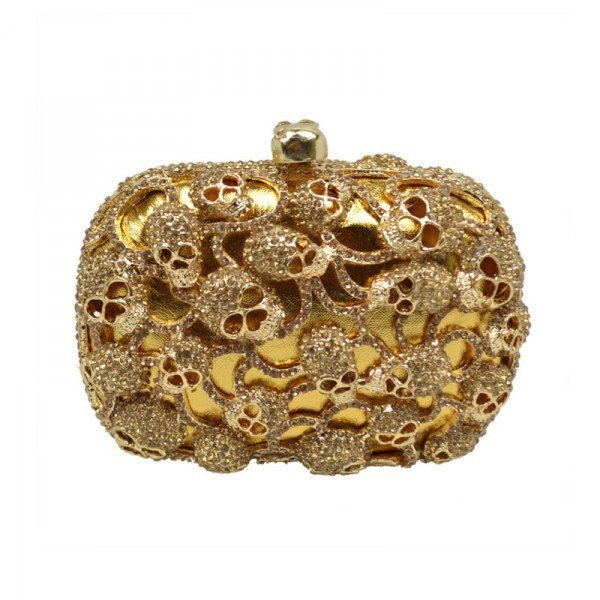 Golden Tone Skull Heads Embellishment Clutch