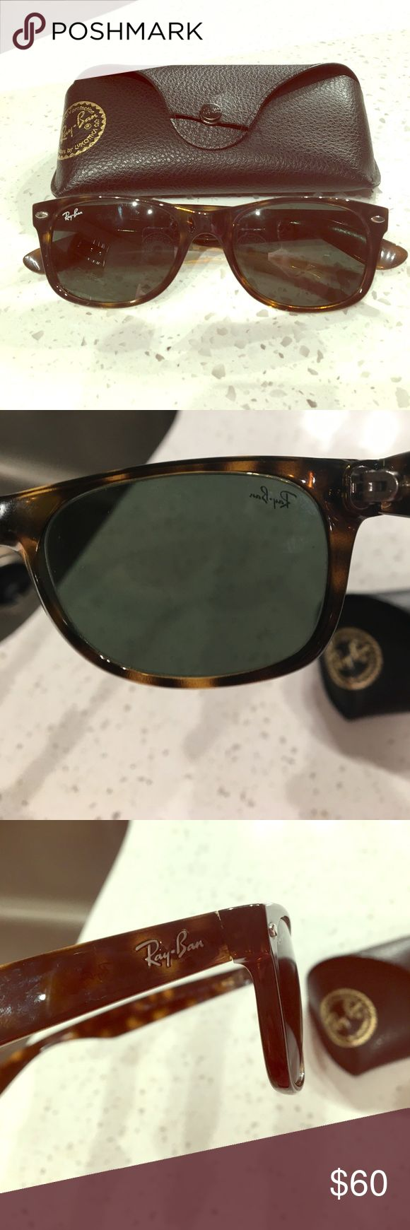 Ray-Ban Wayfarer Tortoise Sunglasses Tortoise Ray Ban's with almost green-like tint on lense (shown in pic) these are the smaller sized ones. Selling with case - clasp slightly damaged on case. Ray-Ban Accessories Sunglasses