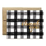 Gold Foil Gingham Thank You Notecard Set