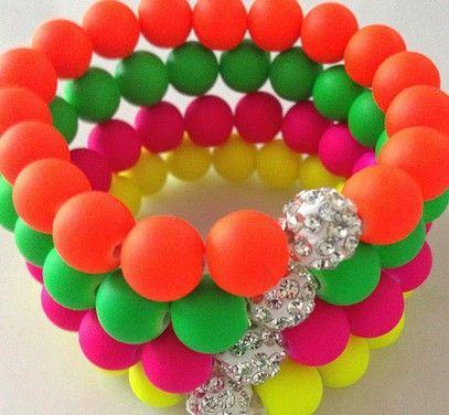 Best Lot!16 Piece/lot ,Each Color 4 Piece, Mix Neon Fluorescence Candy Color Beads Disco Ball Stretch Shamballa Bracelet