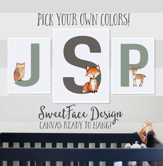 CANVAS SIGN Boy Monogram set/ gallery wall art/ woodland animals/ woodland nursery/ nursery wall art/ baby shower/ baby boy/ kids room by SweetFaceDesign