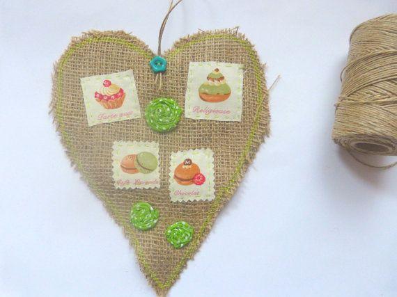 Jute Decoration kitchen decoration Heart by CrossStitchElizabeth