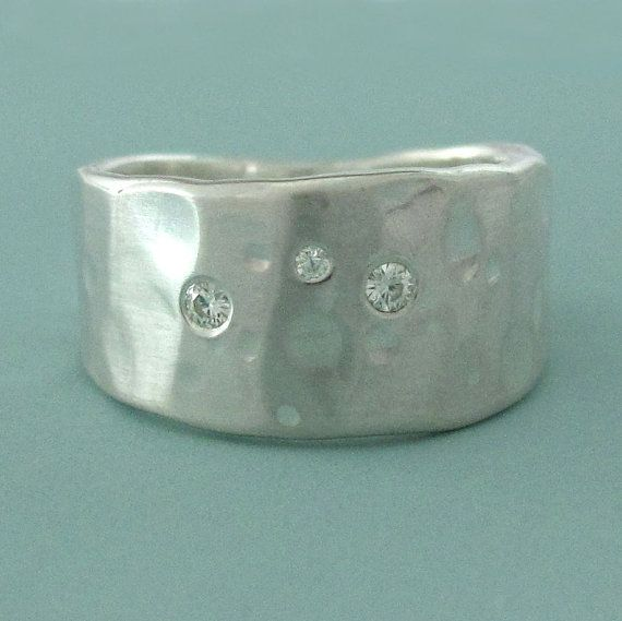 Sterling Silver and Moissanite Ring  Wide Tapered by esdesigns