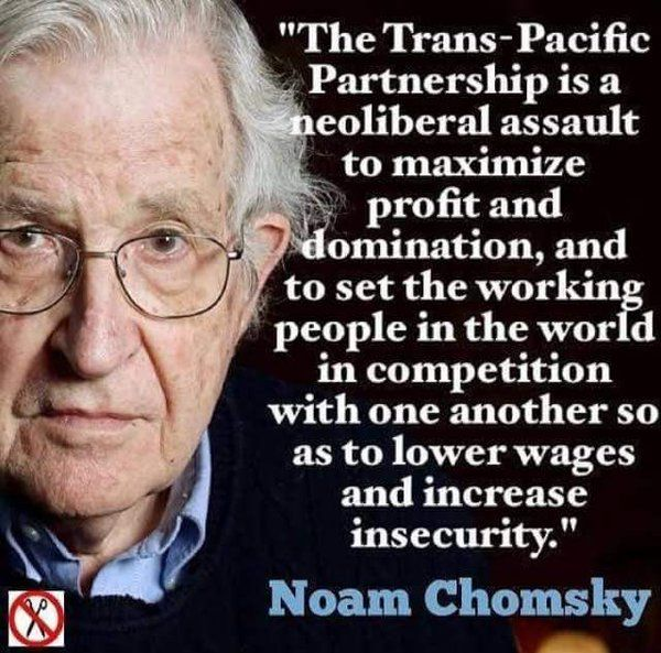 """""""The Trans-Pacific Partnership is a neo-liberal assault to maximize profit and domination, and to set the working people in the world in competition with one another so as to lower wages and increase insecurity.""""  --Noam Chomsky"""