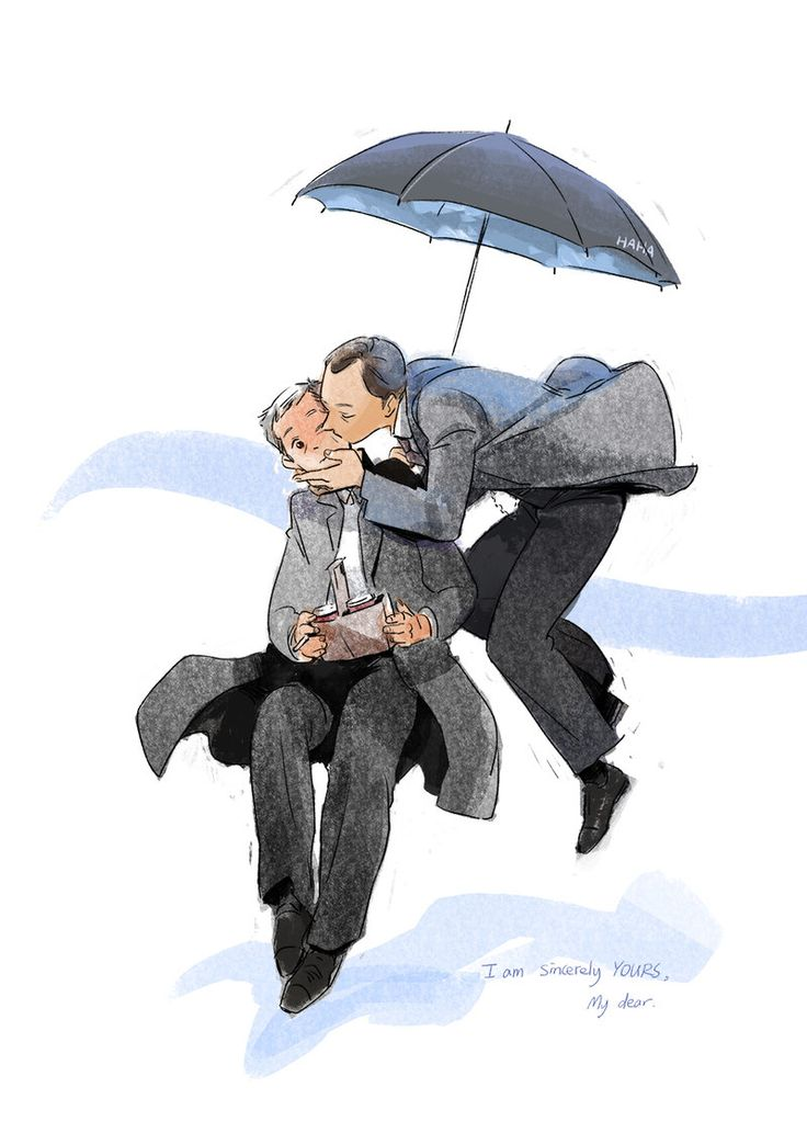 Mycroft Holmes / Gregory Lestrade / Mystrade / BBC Sherlock / Kiss / Umbrella Fairy by HAHAAAAAAAAAAAA.deviantart.com on @deviantART