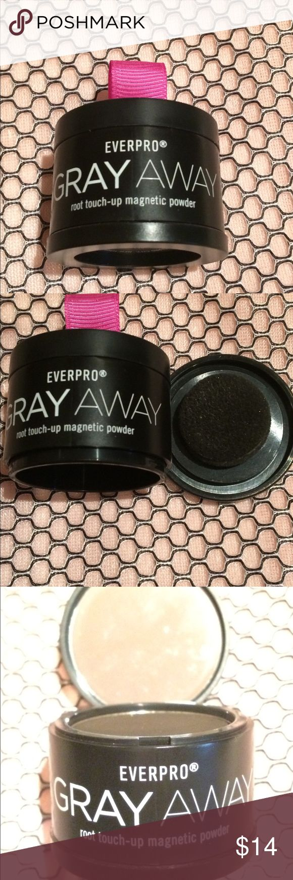 EverPro Gray Away magnetic root touch up powder Perfect for in between coloring is this magnetic root touch up powder made by EverPro. This color is used for dark brown to black hair and seamlessly blends in with all brands of coloring. Comes with a convenient and mirror and a sponge tip applicator. Super easy to use and blends in beautifully. Everpro Makeup Foundation