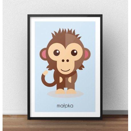 Przedstawiamy plakat dla dzieci z wizerunkiem słodkiej małpeczki. Plakat z małpką będzie pięknie prezentował się na ścianach pokoju dla dziecka w wieku 0-7 lat.