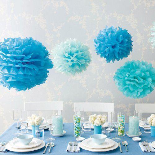 Blue Tissue Paper Pom Poms - Set of 5