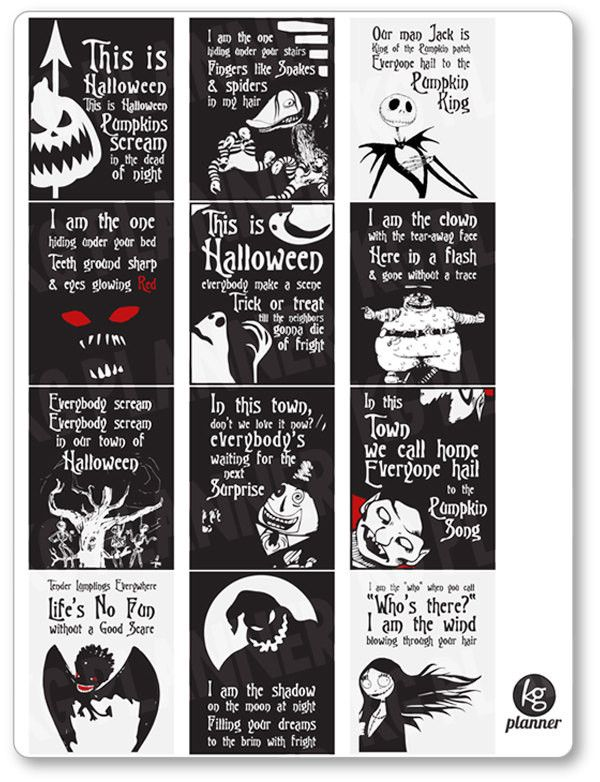 Nightmare Before Christmas Quote Full Box Planner Stickers