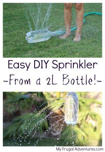 Fast and easy DIY Sprinkler for children-- made from a 2L bottle!