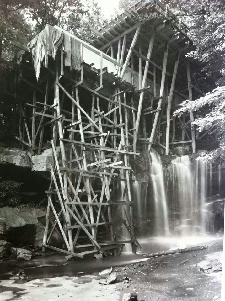 Construction photo. Fallingwater / Kaufman Residence. 1936-9. Bear Run Creek in Mill Run, Pennsylvania. Frank Lloyd Wright.