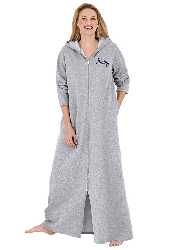 Personalized long ultrasoft hoodie robe by Dreams & Co.® | Plus Size Robes & Slippers | Woman Within