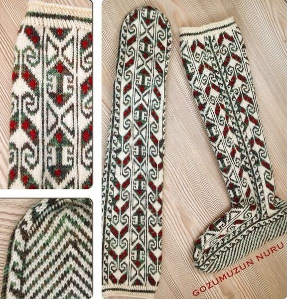Traditional woollen winter stockings for women.  Called 'bot çorabı' (= boot stockings).  From Çamlıhemşin (Rize province), recent work (2010s).