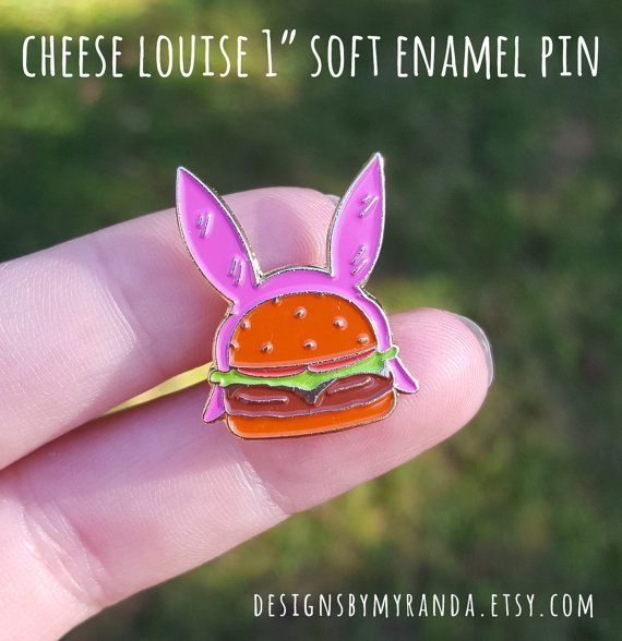 My very first enamel pin featuring everyones favorite Burger employee!  Pin specs: - Soft Enamel Pin - 1 high - gold metal finish - metal clutch  Pins shipping within the US will have tracking info.