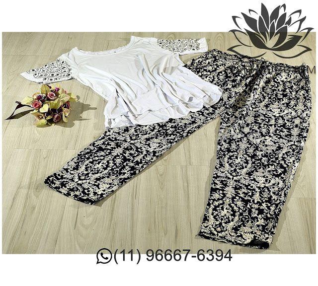 Camiseta de Malha com corte Laser e Enfeites Bordados na manga R$ 6500 (somente loja física)  Calça Pijama de Viscose R$ 5500 (somente loja física) #vestemuitobem #moda #modafeminina #modaparameninas #estilo #roupas #lookdodia #roupasfemininas #tendência #beleza #bonita #gata #linda #elegant #elegance #jardimavelino