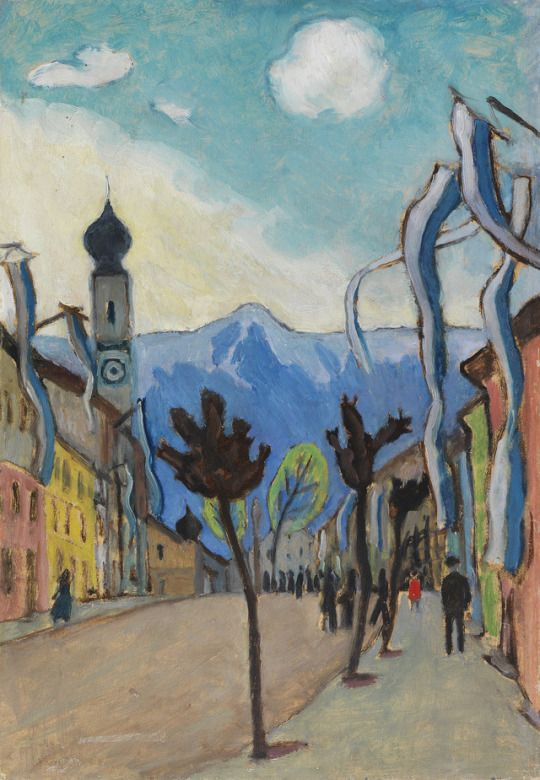 Gabriele Münter (German, 1877-1962)    Murnau, main street on Sunday in May (Murnau, Hauptstrasse am Sonntag im Mai), 1924    Oil on canvas