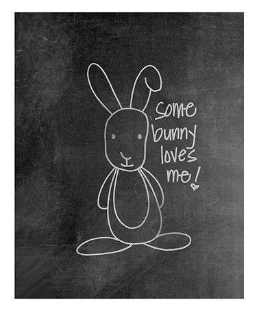 'Some Bunny' Chalkboard Print #zulily #zulilyfinds