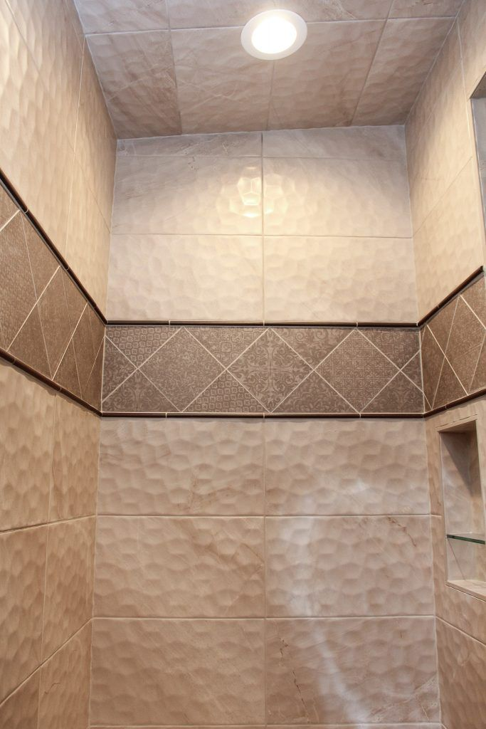Cream Tile Shower Brown Pattern Tile Accent Wall With Images